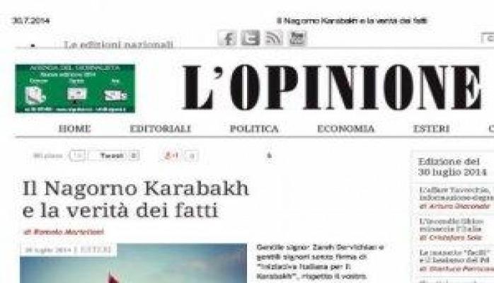 """L'Opinione qəzeti: """"Ermənistan: mövcud olmayan demokratiya"""""""
