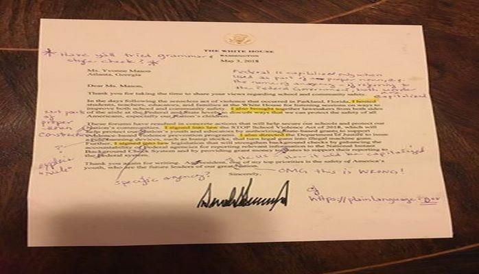 Учитель отправила письмо Трампа обратно из-за грамматических ошибок
