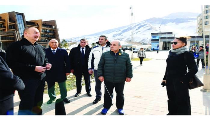 Президент Ильхам Алиев и Первая леди Мехрибан Алиева ознакомились с работами, проведенными в туристическом центре «Шахдаг»