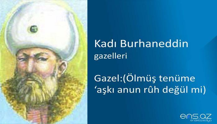 Kadı Burhaneddin - Gazel:(Ölmüş tenüme 'aşkı anun ruh değül mi)