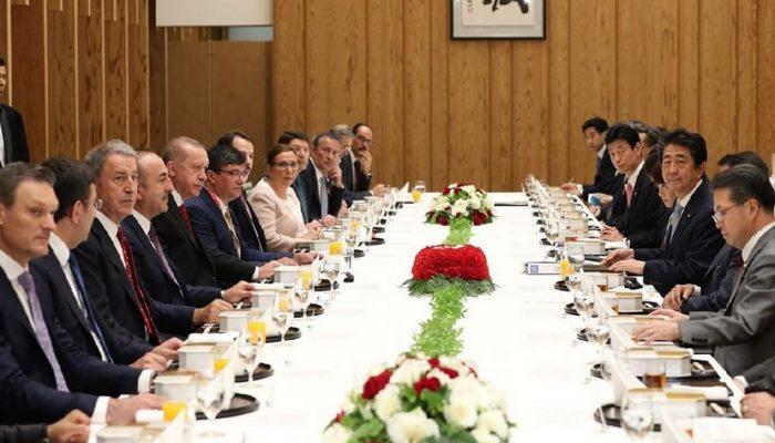 Erdoğan ile Abe çalışma yemeğine katıldı