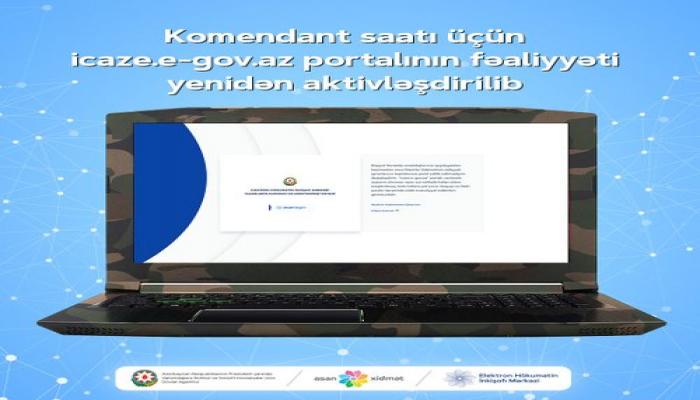 Komendant saatı üçün icaze.e-gov.az portalının fəaliyyəti yenidən aktivləşdirilib
