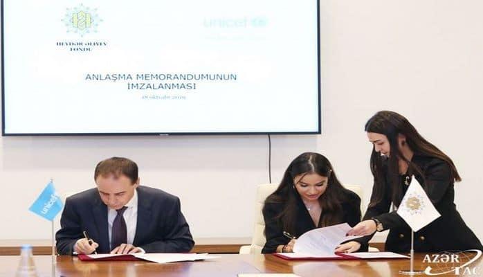 Heydər Əliyev Fondu ilə UNİCEF arasında Anlaşma Memorandumu imzalanıb