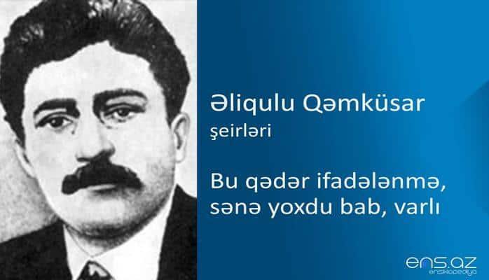 Əliqulu Qəmküsar - Bu qədər ifadələnmə, sənə yoxdu bab, varlı