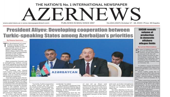 """""""AZERNEWS"""" qəzetinin növbəti nəşri çapdan çıxıb"""