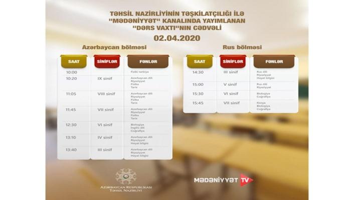 Обнародован график телеуроков на азербайджанском ТВ на 2 апреля