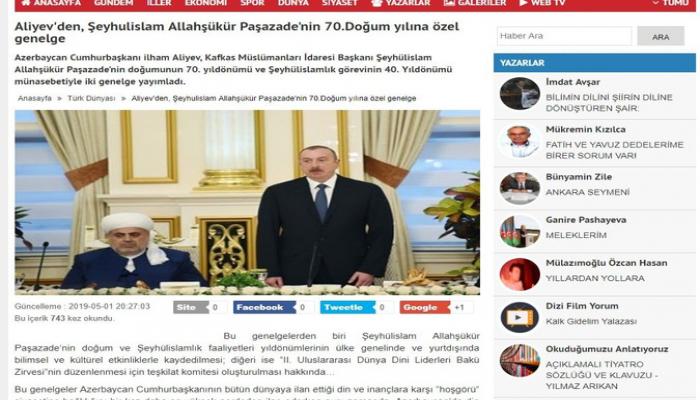 Türkiyə KİV-ləri Prezident İlham Əliyevin Allahşükür Paşazadə ilə bağlı sərəncamından yazıb