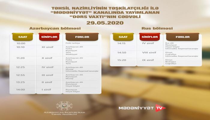 В Азербайджане обнародовано завтрашнее расписание школьных телеуроков