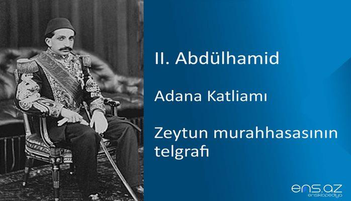 II. Abdülhamid - Adana Katliamı/Zeytun murahhasasının telgrafı