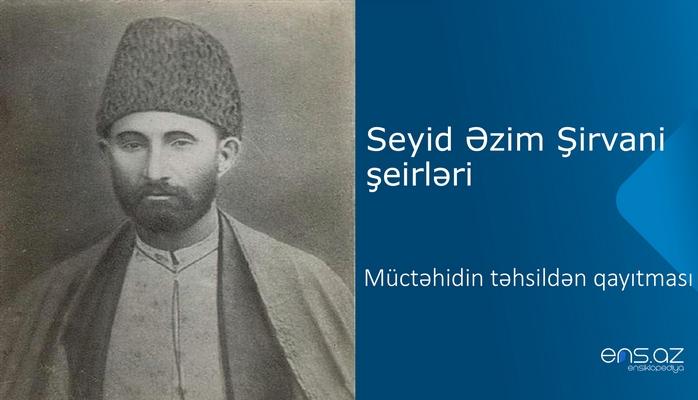Seyid Əzim Şirvani - Müctəhidin təhsildən qayıtması