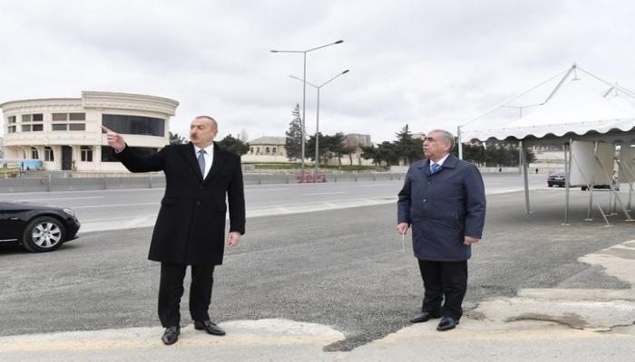 Президент Ильхам Алиев ознакомился с работами по расширению автодороги Баку-Сумгайыт