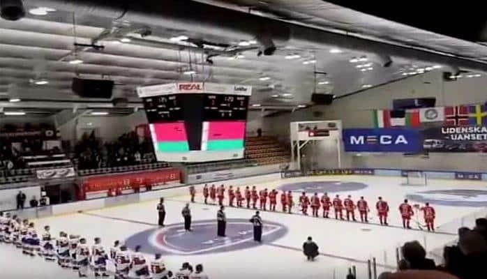 """Matç zamanı Belarusun himni yerinə """"Nu pogodi""""dən mahnı səsləndi"""