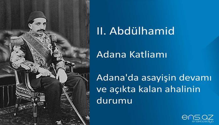 II. Abdülhamid - Adana Katliamı/Adana'da asayişin devamı ve açıkta kalan ahalinin durumu