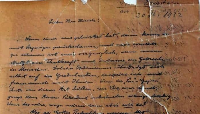 Найден оригинал письма Альберта Эйнштейна