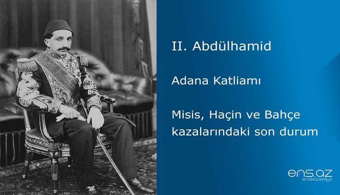 II. Abdülhamid - Adana Katliamı/Misis, Haçin ve Bahçe kazalarındaki son durum