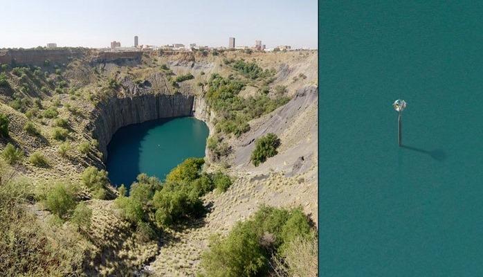 Визуализация добычи алмазов против пострадавшего ландшафта Южной Африки