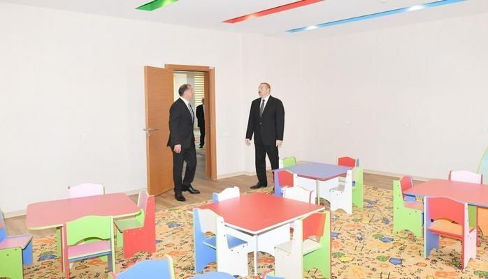 Президент Ильхам Алиев принял участие в открытии детсада-яслей, построенного в Имишли по инициативе Фонда Гейдара Алиева