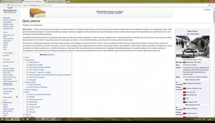 """""""Wikipedia""""nın özbəkdilli versiyasında """"Qara Yanvar"""" adlı bölmə yaradılıb"""