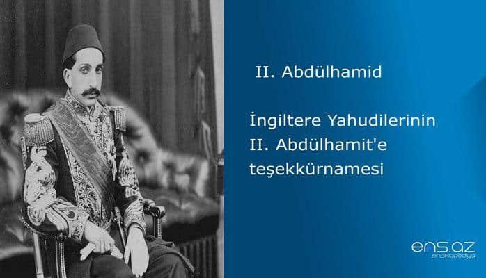 II. Abdülhamid - İngiltere Yahudilerinin II. Abdülhamit'e teşekkürnamesi