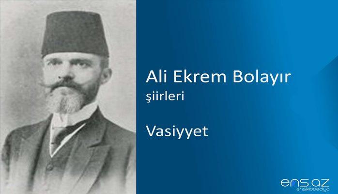 Ali Ekrem Bolayır - Vasiyyet