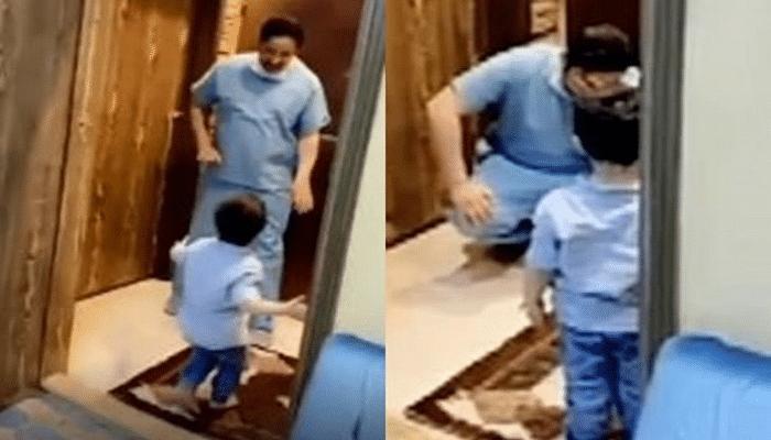Koronavirusa görə oğlunu qucaqlaya bilməyən həkimin duyğusal anları