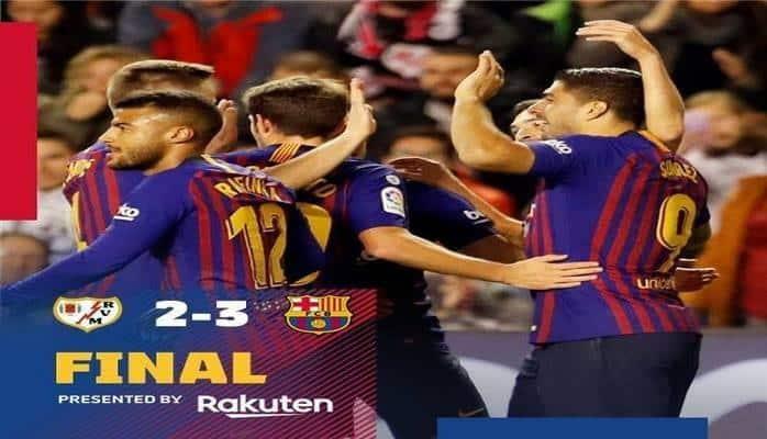 """""""Барселона"""" одолела """"Райо Вальекано"""" благодаря голам на 87-й и 90-й минутах"""