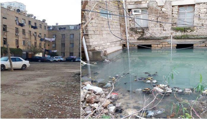 В Баку сточные воды стекают в подвал жилого дома, 250 семьям угрожает опасность