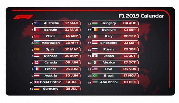 Международная автомобильная федерация утвердила календарь сезона-2019 «Формулы-1»
