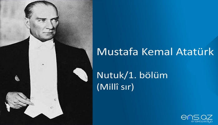 Mustafa Kemal Atatürk - Nutuk/1. bölüm/Milli sır