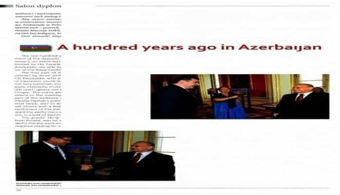 """Polşanın """"Ambasador"""" jurnalında Azərbaycan Xalq Cümhuriyyətinin 100 illiyi ilə bağlı məqalə dərc edilib"""