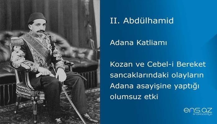 II. Abdülhamid - Adana Katliamı/Kozan ve Cebel-i Bereket sancaklarındaki olayların Adana asayişine yaptığı olumsuz etki