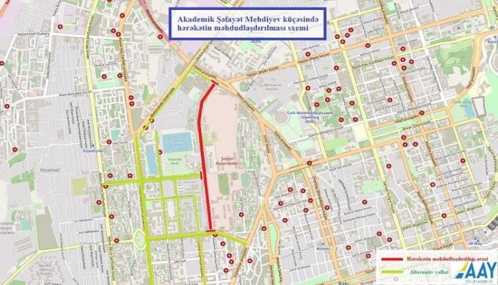 Ограничивается движение на одной из улиц в Ясамальском районе Баку