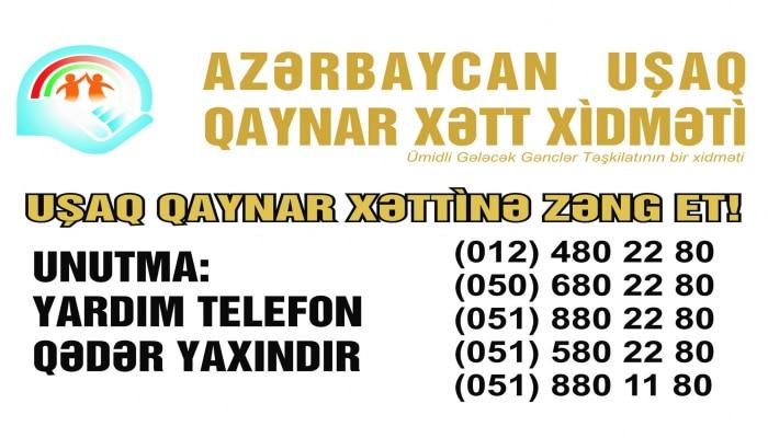 """""""Uşaq Qaynar Xətt"""" xidmətinə daxil olan müraciətlərin sayı açıqlandı"""