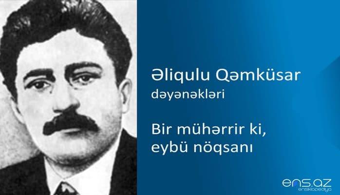 Əliqulu Qəmküsar - Bir mühərrir ki, eybü nöqsanı