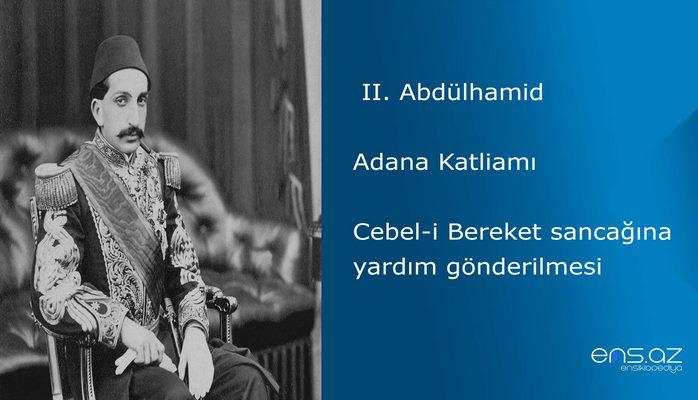 II. Abdülhamid - Adana Katliamı/Cebel-i Bereket sancağına yardım gönderilmesi