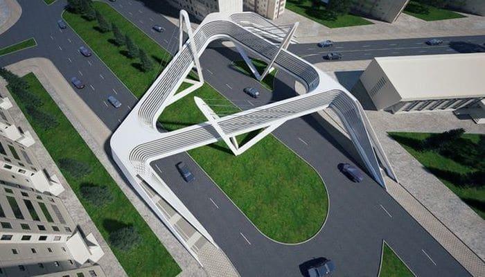 В Баку строится надземный пешеходный переход