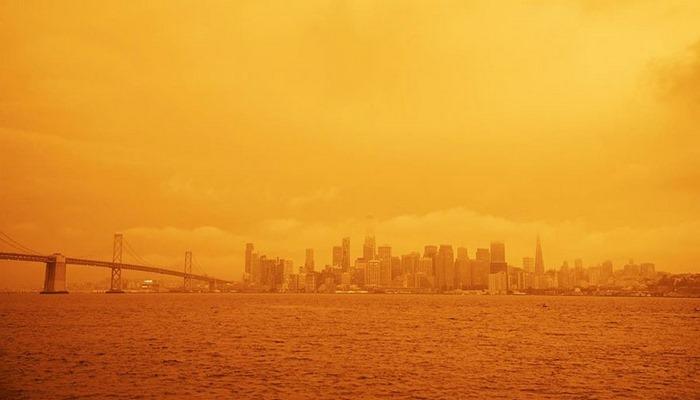 Amerika eyaletinde gökyüzü turuncuya büründü