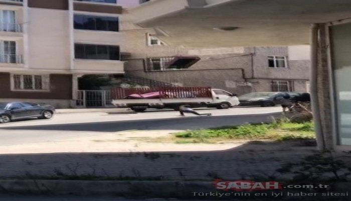 Arnavutköy'de akılalmaz görüntü! 5. kattan koltuğu böyle yere attılar