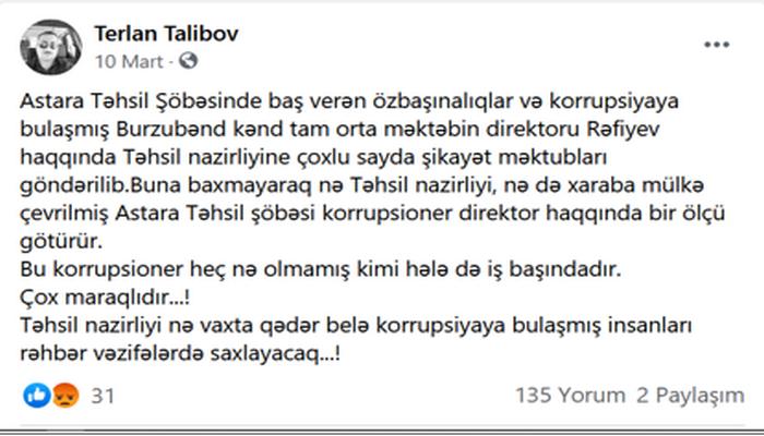ASTARA TƏHSİLİNDƏ KORRUPSİYA VƏ MAXİNASİYA İDDİASI!