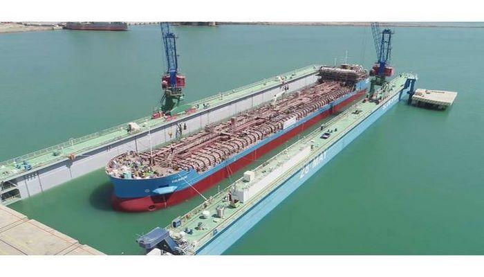 Azərbaycan istehsalı olan ikinci tanker inşasının növbəti mərhələsi üçün suya salındı