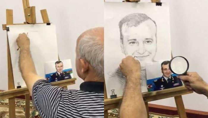 Azərbaycanlı rəssam canlı yayımda şəhid generalımızın portretini yaratdı