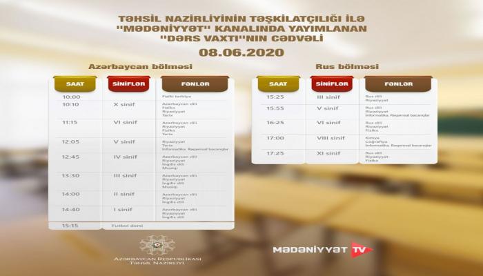 """""""Dərs vaxtı"""" verilişinin 8 iyun cədvəli müəyyənləşdirilib"""