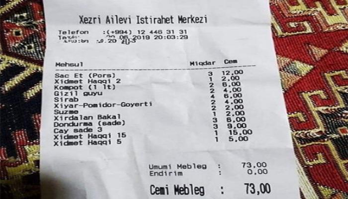 Restoranda 22 manat xidmət haqqı istədilər