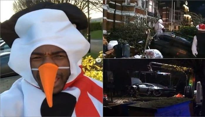 Футболист в костюме снеговика на Lamborghini разнес чужой двор