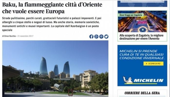 İtaliya portalı: Avropa şəhəri olmağa can atan Bakı coşqun Şərq şəhəridir