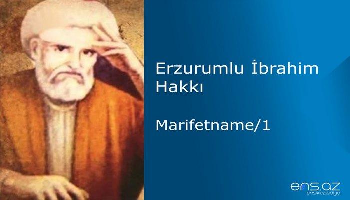Erzurumlu İbrahim Hakkı - Marifetname/1