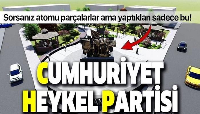 Belediyecilikten anladıkları bu! CHP'li Samsun Atakum Belediyesi yine heykel dikti!