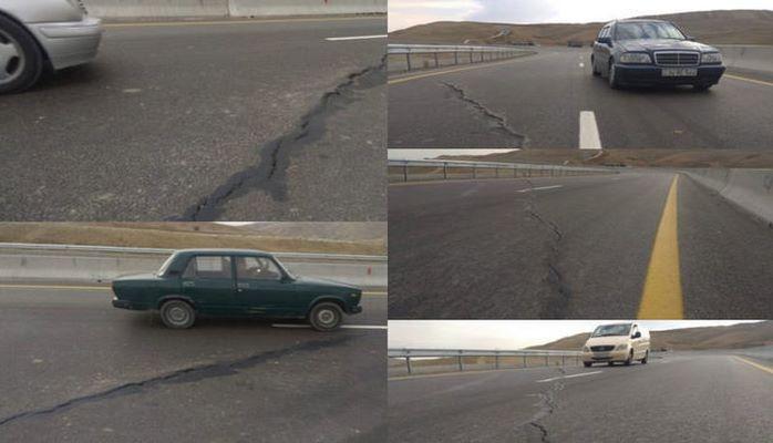 На новой дороге Баку-Шамахы -Евлах образовались трещины