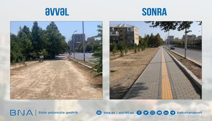 На пересечении двух проспектов в Баку в обновлен тротуар