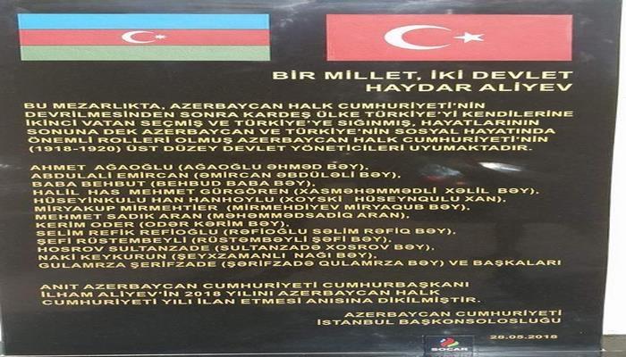 İstanbulda Azərbaycanın tanınmış şəxsiyyətlərinin xatirə lövhəsi açıldı